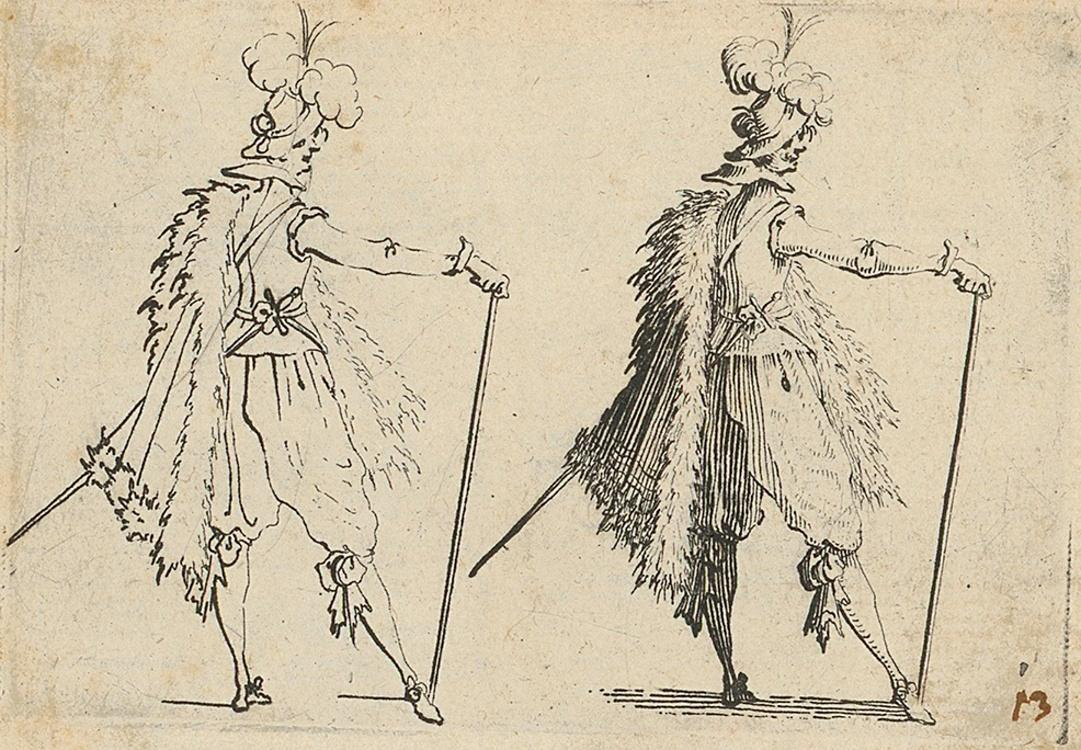 Nobleman with a walking–stick, 1617, etching, paper, 56 × 76 mm