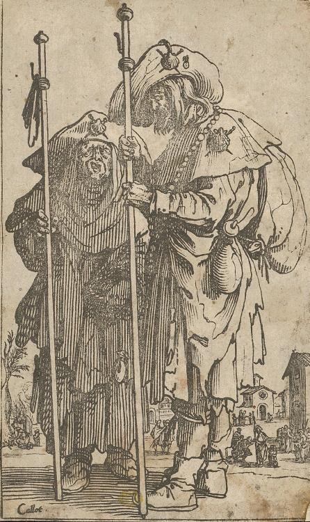 Two pilgrims, etching, paper, 145 × 86 mm
