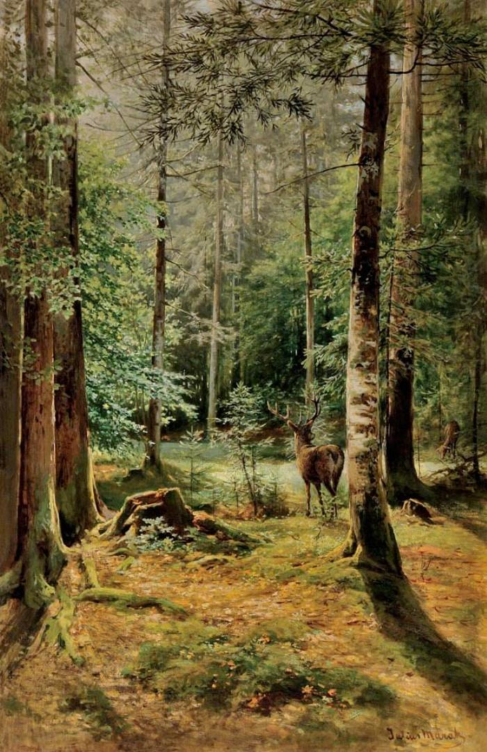 Mařák, Julius Eduard / Forest Interior with Deer