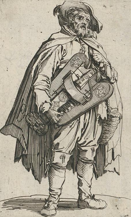 Beggar with a hurdy–gurdy, etching, paper, 137 × 84 mm